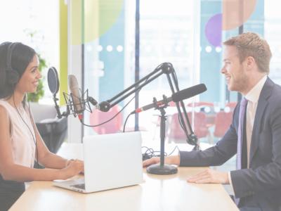 Radio host interviewing media spokesperson
