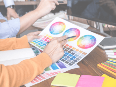 Graphic Designer choosing brand colours