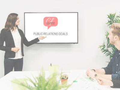 PR Consultant giving presentation to board